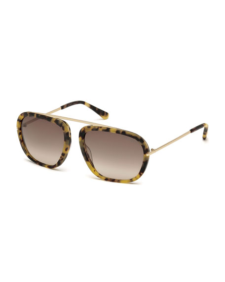 TOM FORD Johnson Squared Aviator Sunglasses, Matte Tortoise