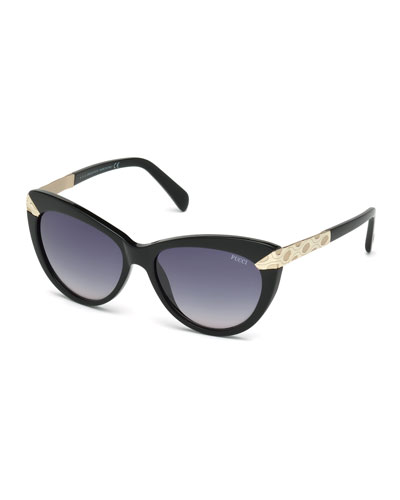 Embossed-Trim Cat-Eye Sunglasses, Black