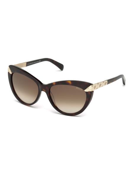 Emilio Pucci Embossed-Trim Cat-Eye Sunglasses, Dark Havana