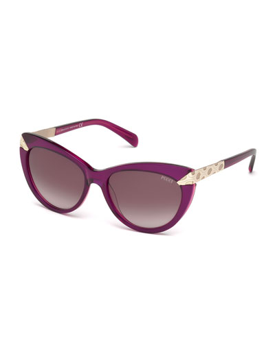 Embossed-Trim Cat-Eye Sunglasses, Burgundy