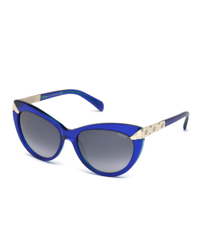 Embossed-Trim Cat-Eye Sunglasses, Blue