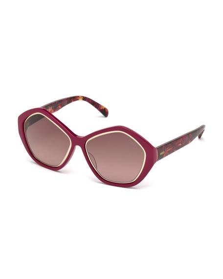 Emilio Pucci Printed Pentagonal Sunglasses, Fuchsia