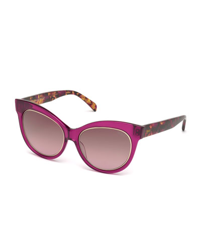 Printed Cat-Eye Sunglasses, Fuchsia