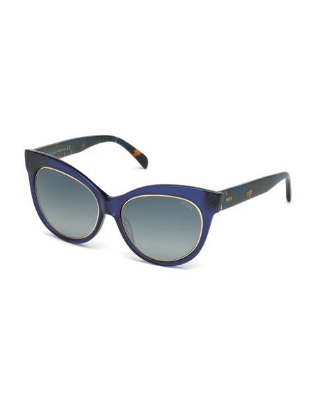 Emilio Pucci Printed Cat-Eye Sunglasses, Blue