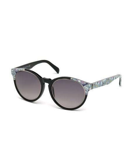 Emilio Pucci Printed Square Sunglasses, Black