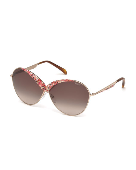 Emilio Pucci Printed Butterfly Sunglasses, Pink/Coral