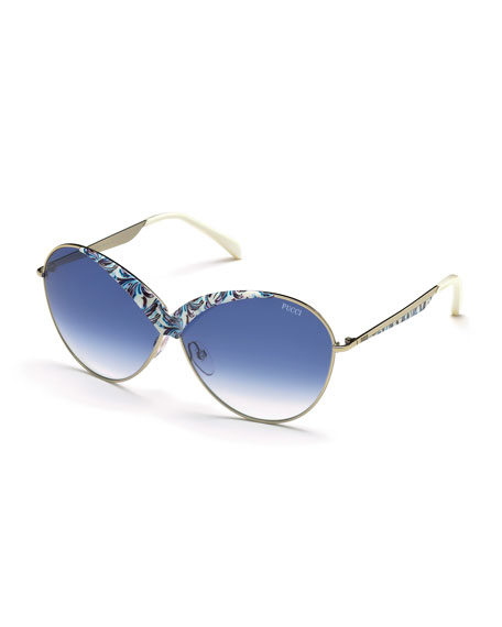 Emilio Pucci Printed Butterfly Sunglasses, White/Blue