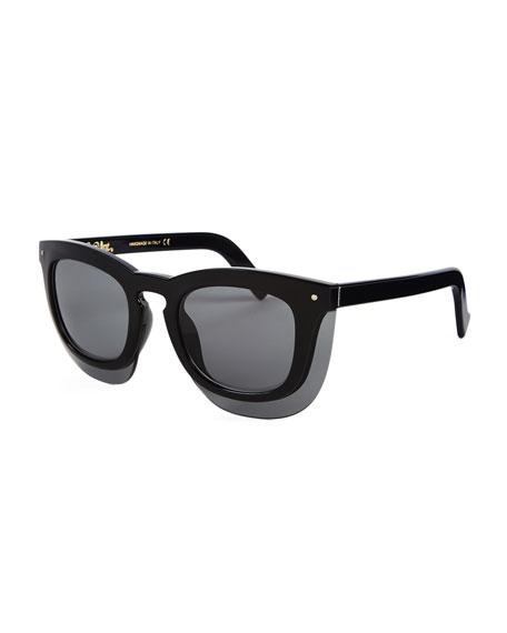 Grey Ant Inbox Oversize Square Sunglasses, Black/Gray