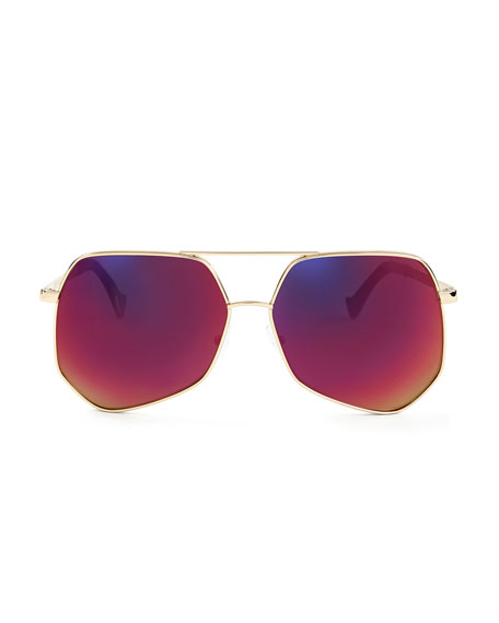 Megalast Geometric Aviator Sunglasses, Gold/Red Flash