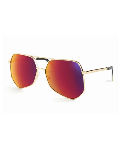 Megalast Geometric Aviator Sunglasses, Gold/Red Flash