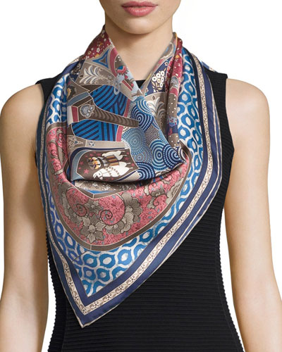 Patterned Silk Square Scarf, Blue/Multicolor