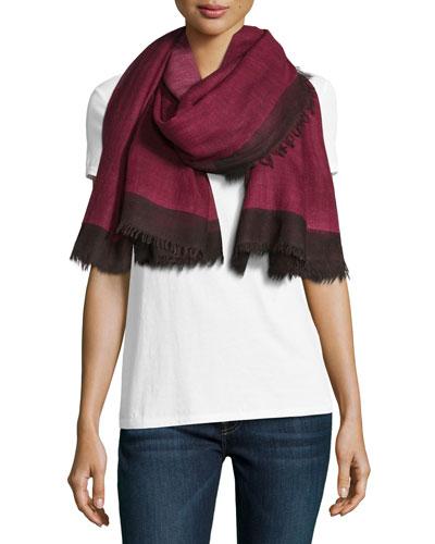 Wool Colorblock Scarf, Pink/Black