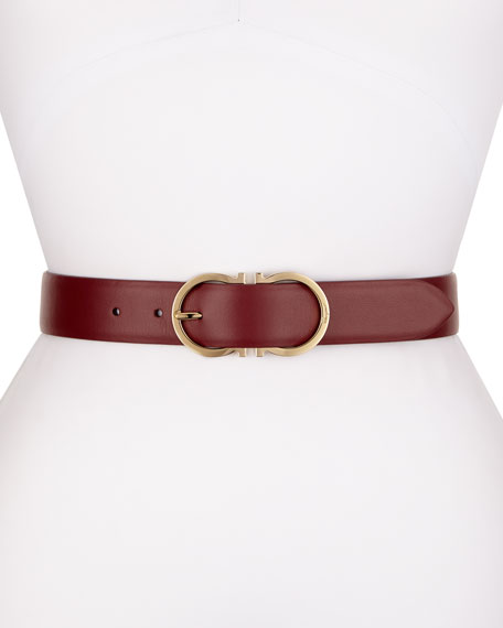 Calf Leather Gancini-Buckle Belt, Magenta