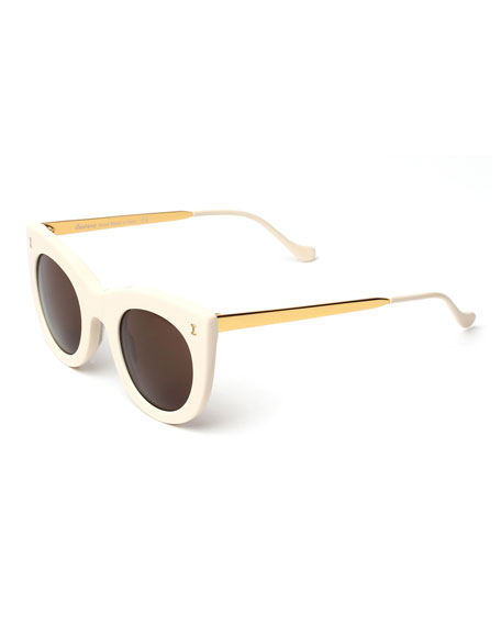 Illesteva Boca II Cat-Eye Sunglasses, Cream