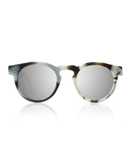 Leonard Round Mirrored Sunglasses, Horn/Silver