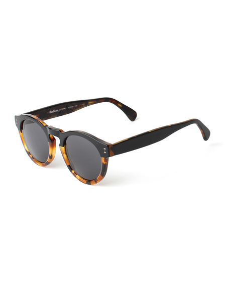 Illesteva Leonard Bi-Color Sunglasses, Black/Tortoise