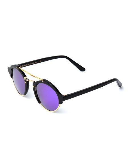 Milan II Round Iridescent Sunglasses, Black/Berry