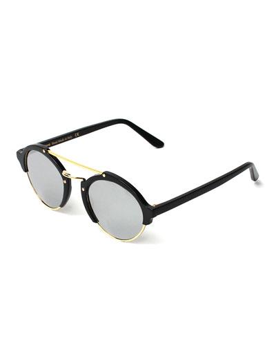 Milan II Round Mirrored Sunglasses, Black/Silver