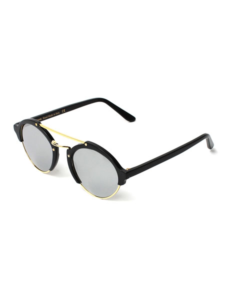 Illesteva Milan II Round Mirrored Sunglasses, Black/Silver