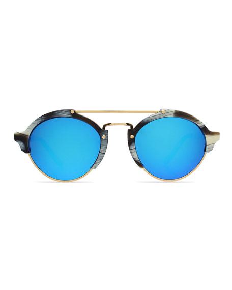 Milan II Round Iridescent Sunglasses, Horn/Blue