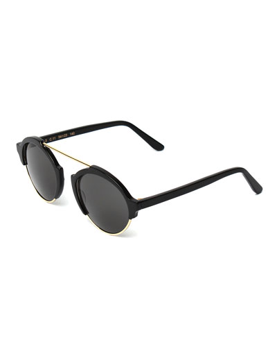 Milan III Round Sunglasses, Black