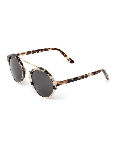 Illesteva Milan III Round Sunglasses, White Tortoise