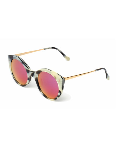 Palm Beach Mirrored Sunglasses, Horn/Pink