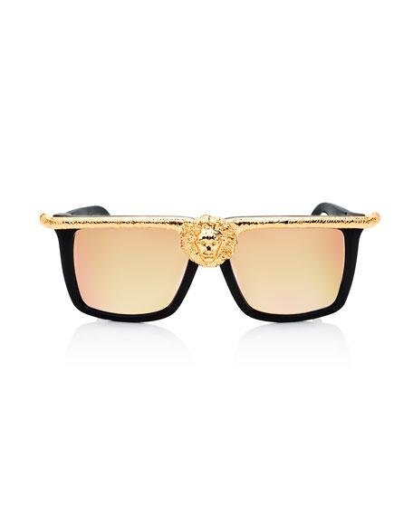 Lion Mirrored Square Sunglasses, Black