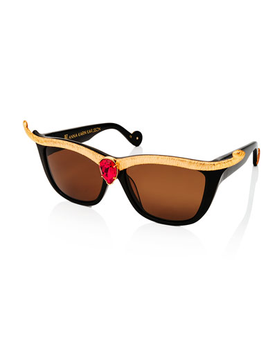 Empress Embellished Square Sunglasses w/ Crystal Center, Black/Ruby