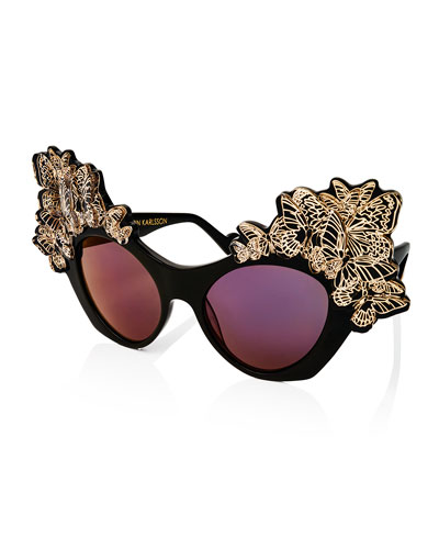 The Butterfly Mirrored Sunglasses, Black