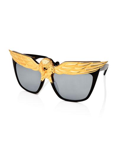 Plated Eagle Square Sunglasses, Black