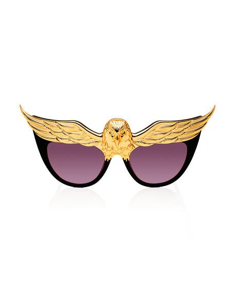 Plated Eaglet Cat-Eye Sunglasses, Black