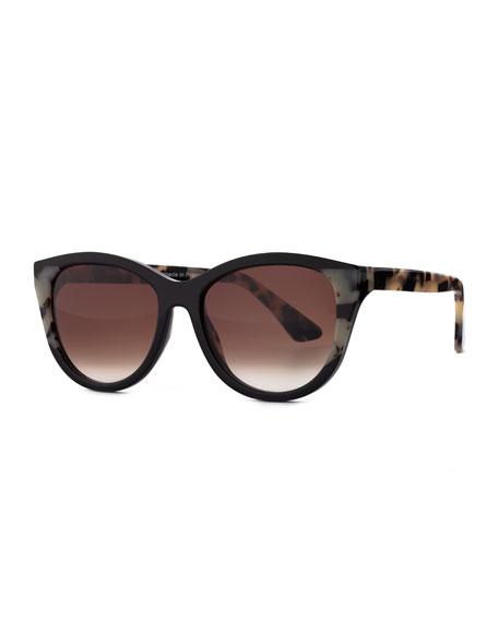 Flattery Cat-Eye Sunglasses, Black Leopard