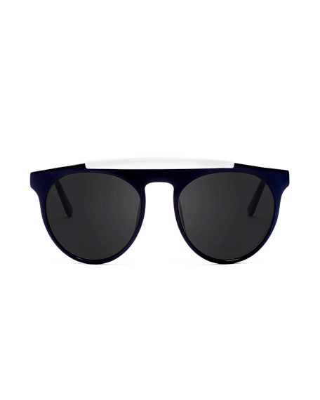 Atomic Rounded Square Sunglasses, Black/White
