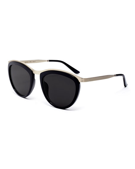 Comic Strip Monochromatic Square Sunglasses, Black/Silver