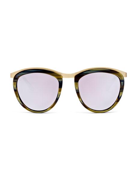 Comic Strip Monochromatic Square Sunglasses, Dark Horn/Gold