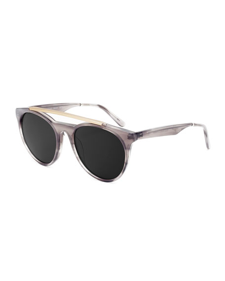 Smoke X Mirrors Sugarman Rounded Square Sunglasses, Gray/Gold