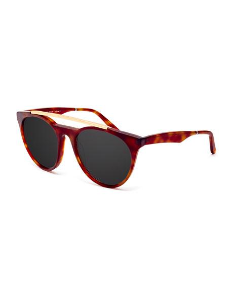 Smoke X Mirrors Sugarman Rounded Square Sunglasses, Havana/Gold