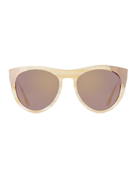 Zoubisou Cat-Eye Sunglasses, Cream/Gold