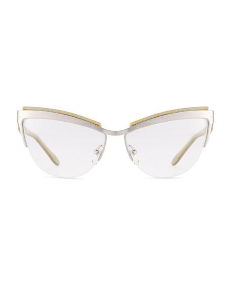 Berlin Cat-Eye Optical Frames, Silver/Gold