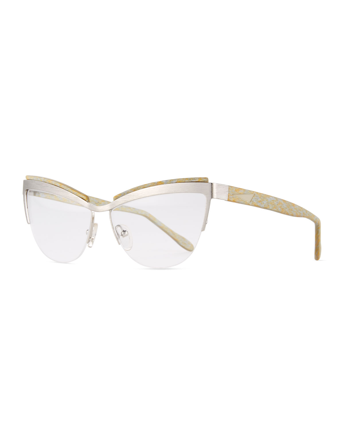 Prism Berlin Cat-Eye Optical Frames, Silver/Gold | Neiman Marcus