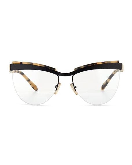 Prism Buenos Aires Semi-Rimless Fashion Glasses, Black/Cream