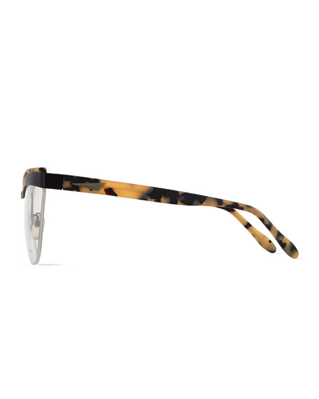 Buenos Aires Semi-Rimless Fashion Glasses, Black/Cream