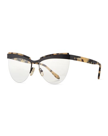 Buenos Aires Semi-Rimless Fashion Glasses, Black/Cream