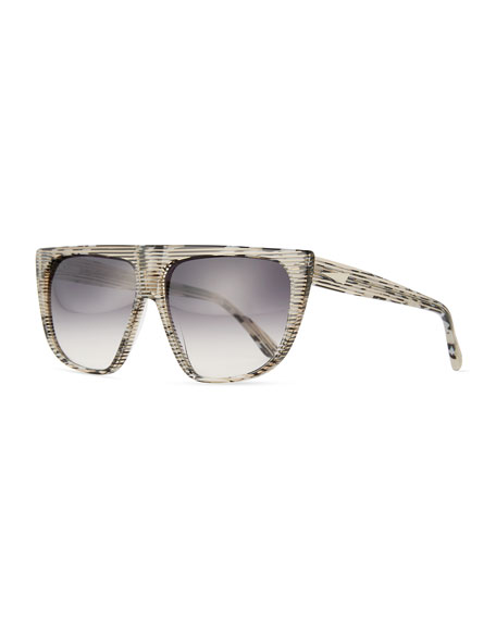 Prism Chamonix Streaked Flat-Top Sunglasses, Leopard
