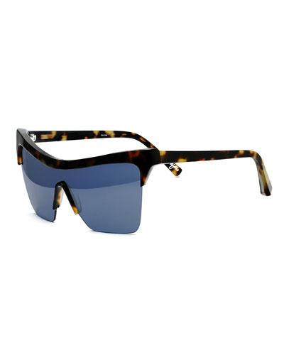 Wythe Shield Sunglasses, Tortoise/Blue
