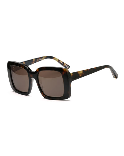 Elliot Oversize Square Sunglasses, Tortoise Brown