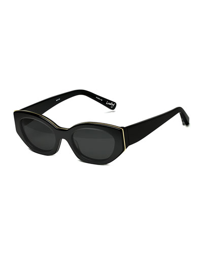 Lindley Oval Butterfly Sunglasses, Black