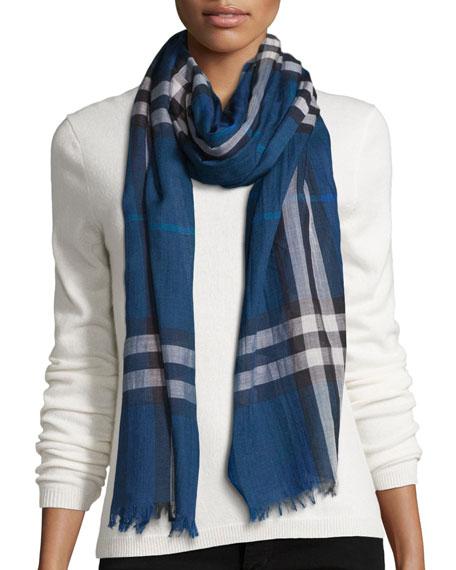 BurberryGiant Check Wool/Silk Gauze Scarf, Marine Blue
