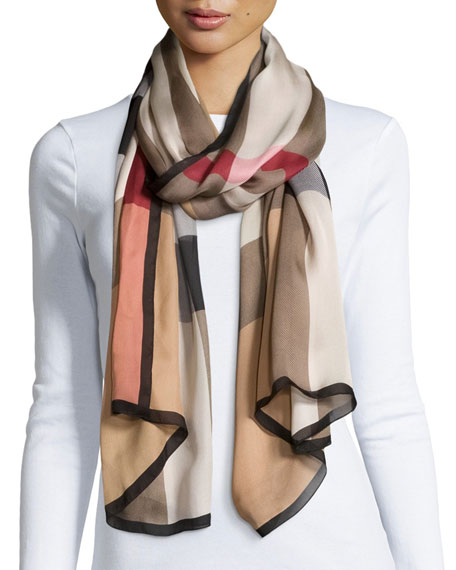 Burberry Mega Check Ultra-Washed Silk Scarf, Camel